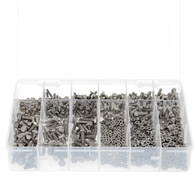 Box mit 292 Sechskantschrauben + Muttern M8-M10-M12 Edelstahl A2 DIN 933