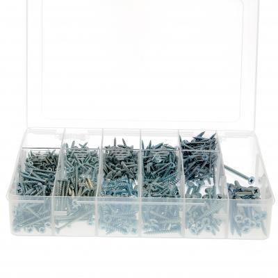 Box mit Holz- und Spanplattenschrauben Senkkopf und Pozidriv-Kreuzschlitz Stahl Weiß verzinkt