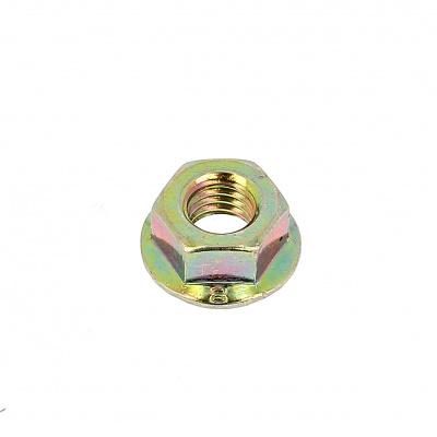 Muttern mit Flansch und Sperrrippen Stahl bichromatiert verzinkt DIN 6923