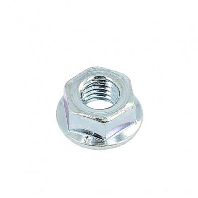 Muttern mit Flansch und Sperrrippen Stahl Weiß verzinkt DIN 6923
