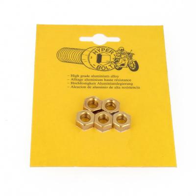 Blister mit 5 Sechskantmuttern P40 Gold eloxiert
