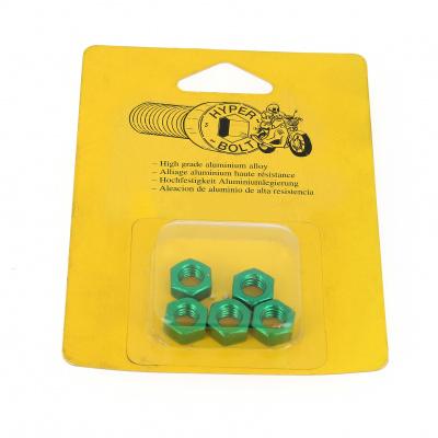Blister mit 5 Sechskantmuttern P40 Grün eloxiert