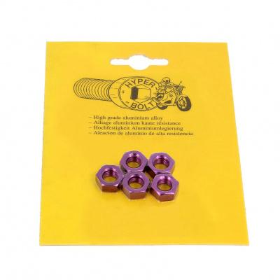 Blister mit 5 Sechskantmuttern P40 Violett eloxiert