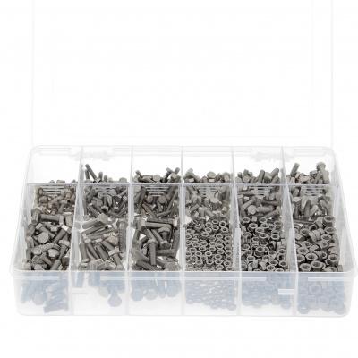 Box mit 800 Sechskantschrauben + Muttern M4-M5-M6 Edelstahl A2 Vollgewinde DIN 933